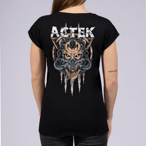 ACTEK Logo Damen T-Shirt mit überschnittene Schulter