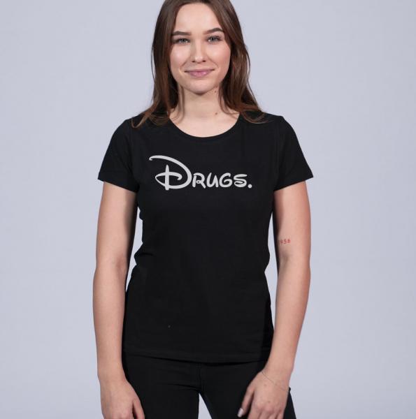 Disdrugs Damen T-Shirt mit Rundhalsschnitt
