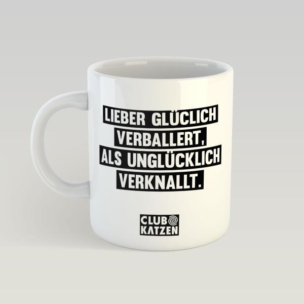 Glücklich verballert - Weiße Tasse