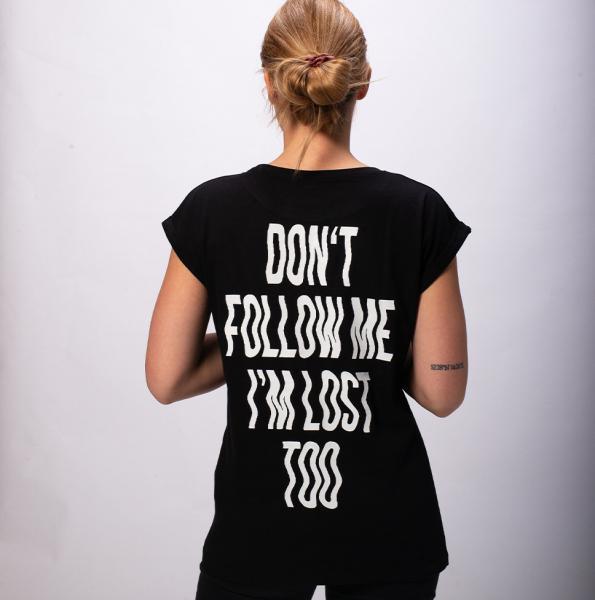Don't follow me Damen T-Shirt mit überschnittene Schulter