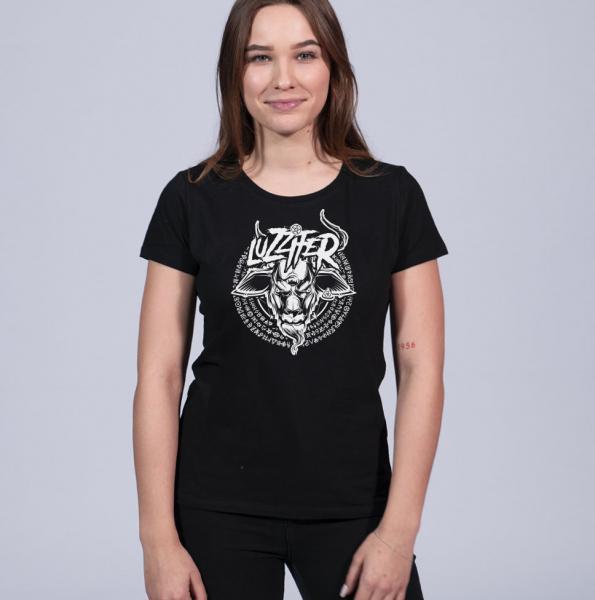 Luzzifer Logo Damen T-Shirt mit Rundhalsschnitt