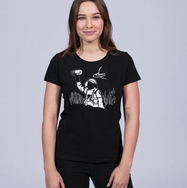 Astronaut Damen T-Shirt mit Rundhalsschnitt