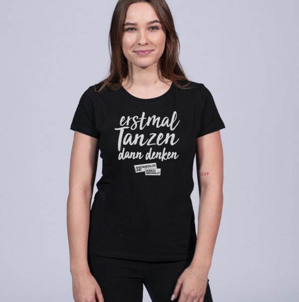 A&D Erstmal Tanzen Damen T-Shirt mit Rundhalsschnitt