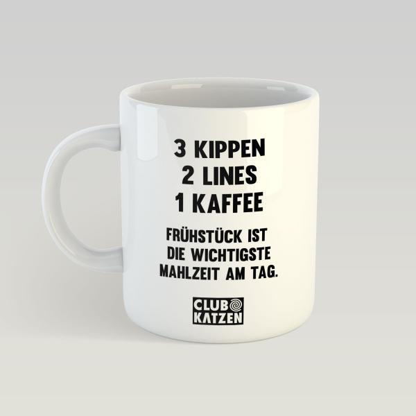 3 Kippen - Weiße Tasse