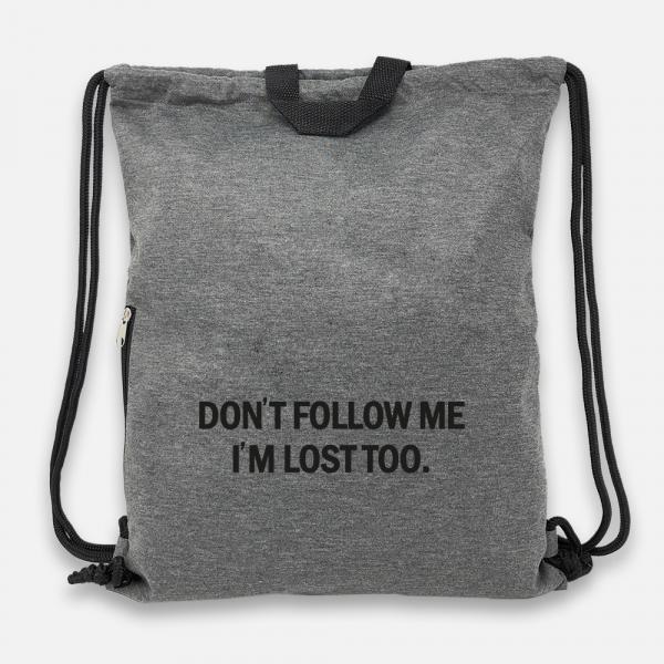 Don't follow me - Jersey Bag Anthrazit