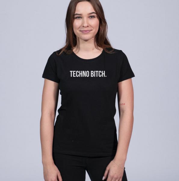 technobitch Damen T-Shirt mit Rundhalsschnitt