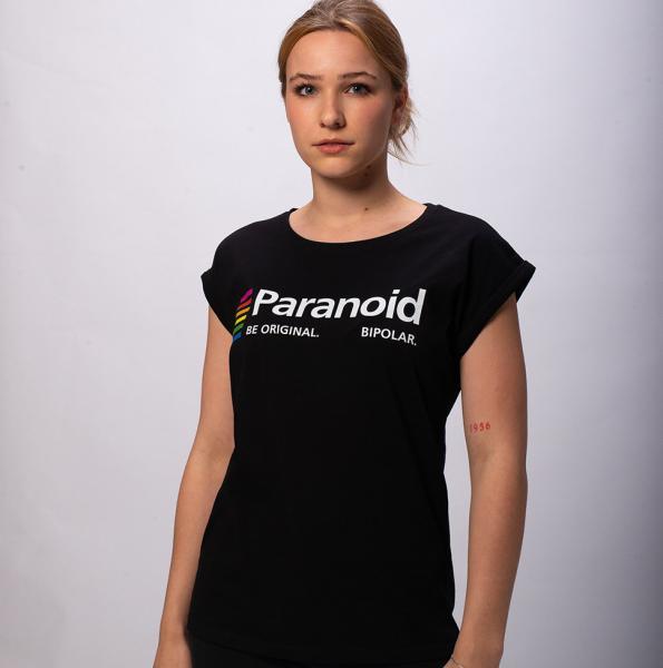 Karl Linienfeld Paranoid Damen T-Shirt mit überschnittene Schulter