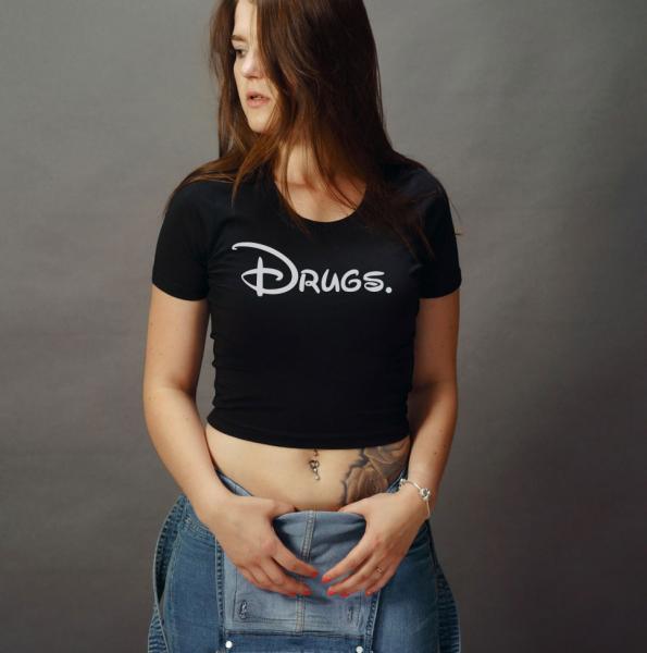 Disdrugs Girls Crop Top T-Shirt