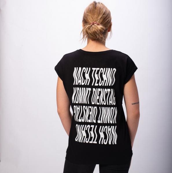 Nach Techno Damen T-Shirt mit überschnittene Schulter