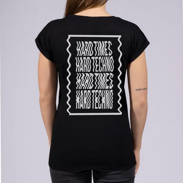 Hard Times Hard Techno Damen T-Shirt mit überschnittene Schulter
