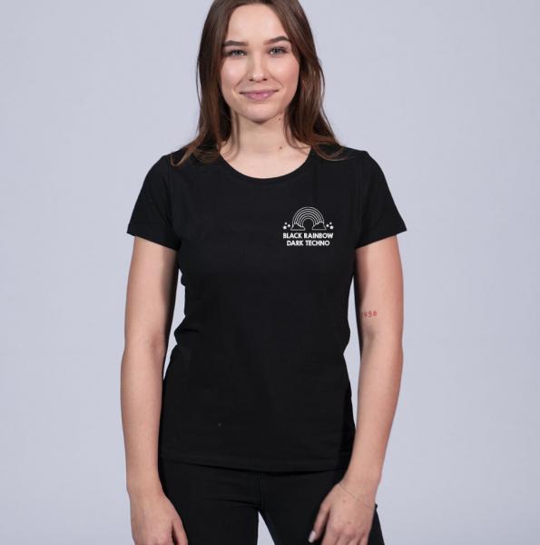 Black Rainbow Damen T-Shirt mit Rundhalsschnitt