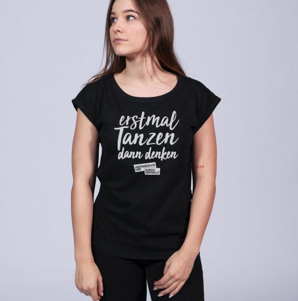 A&D Erstmal Tanzen - Damen T-Shirt mit überschnittene Schulter
