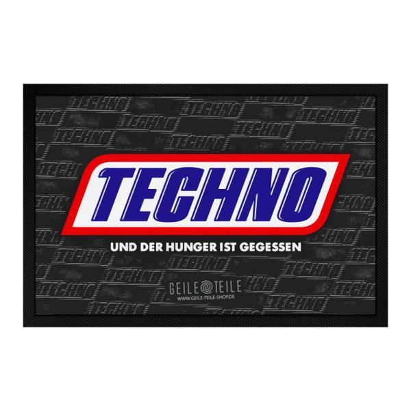 Techno und der Hunger ist gegessen Fussmatte 60 x 40 cm