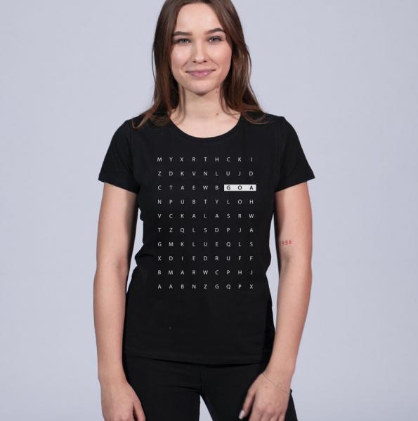 Goa Letter Damen T-Shirt mit Rundhalsschnitt