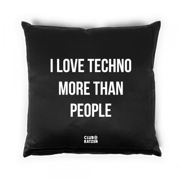 I Love Techno - Kissen schwarz
