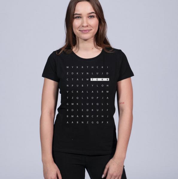Tekk Letter Damen T-Shirt mit Rundhalsschnitt